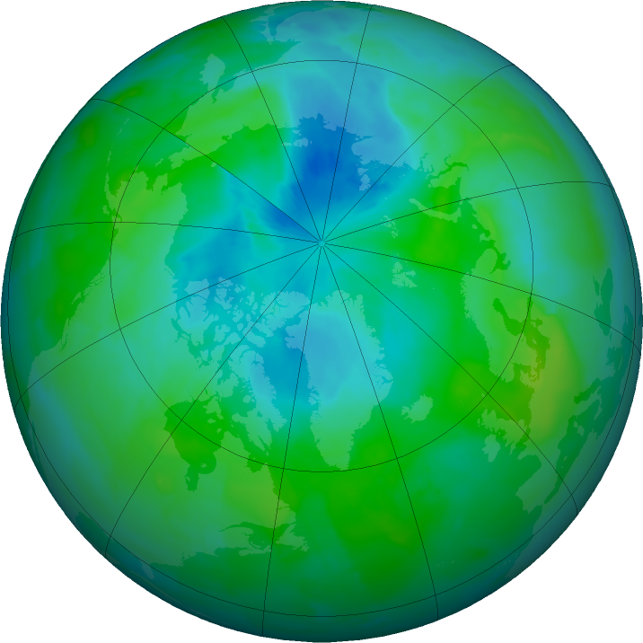 Arctic ozone map for 09 August 2011